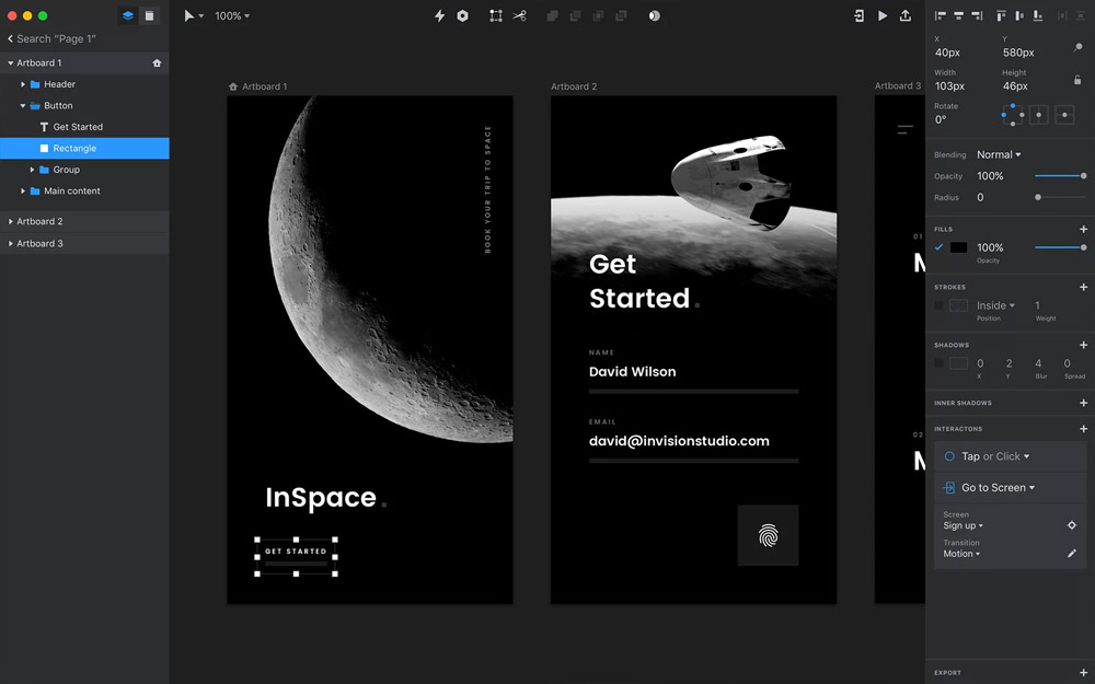 invision studio explication webdesign